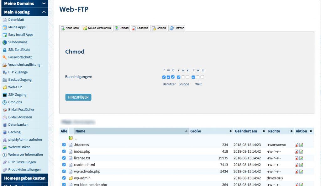 wp braucht ftp daten zum updaten - Rechte anpassen